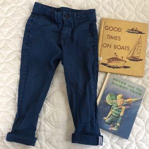 H&M blue pants with stripe cuff detail 3-4 years